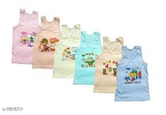 Checkout this latest Innerwear Product Name: *Stylish vest cum tshirt for baby boy and girl* Fabric: Cotton Pattern: Printed Type: Vests Multipack Set: 6 Sizes:  0-3 Months (Chest Size: 12 in, Waist Size: 12 in, Length Size: 14 in)  0-6 Months (Chest Size: 12 in, Waist Size: 12 in, Length Size: 14 in)  3-6 Months (Chest Size: 12 in, Waist Size: 12 in, Length Size: 14 in)  6-9 Months, 6-12 Months (Chest Size: 14 in, Waist Size: 14 in, Length Size: 16 in)  9-12 Months, 12-18 Months (Chest Size: 14 in, Waist Size: 14 in, Length Size: 16 in)  18-24 Months (Chest Size: 14 in, Waist Size: 14 in, Length Size: 16 in)  2-3 Years, 3-4 Years, 4-5 Years, 5-6 Years Country of Origin: India Easy Returns Available In Case Of Any Issue   Catalog Rating: ★4.3 (5699)  Catalog Name: Modern Amazing Kids Boys Vest CatalogID_4126108 C59-SC1187 Code: 903-19915711-549