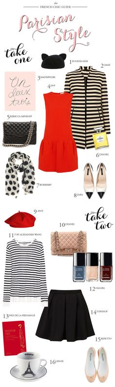 1. Eugenia Kim Cat Beret // 2. Oasis Striped Coat // 3. MadeByGirl 'Un, Deux, Trois' Print // 4. DVF Drop Waist Dress // 5. Rebecca Minkoff Quilted Bag // 6. Chanel Nº 5 Eau De Parfum // 7. Burberry Polka Dot Scarf // 8. Zara Cap-Toe Shoes // 9. Asos Beret // 10. Chanel 2.55 Blush Bag // 11. T By Alexander Wang Striped Tee // 12. Chanel Nail Polishes in Blue Boy, Beige and Rouge Noir // 13. Parisian Chic: A Style Guide by Ines de la Fressange Book // 14. Topshop Skirt // 15. Repetto…
