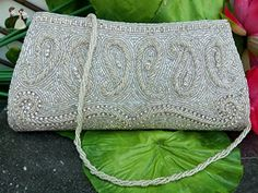 Artcraving White Handmade Vintage style Beaded Clutch crystal bag Bridal purse Evening Art Deco - Bridal handbags (*Amazon Partner-Link)