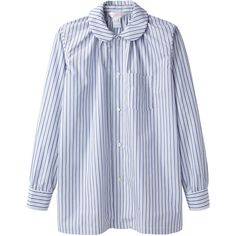 Comme des Garçons Shirt Stripe Shirt ($246) ❤ liked on Polyvore featuring tops, shirts, blouses, cotton shirts, shirts & tops, striped long sleeve shirt, striped long sleeve top and ruched top