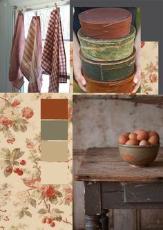 rustic farmhouse in Autumn - Shaker boxes and chippie paint used these colors in last kitchen, with red on bottom cabs and putty/cream on top.