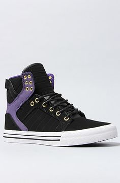 The Skytop Sneaker in Black and Purple Leather by SUPRA