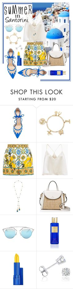"""Summer In Santorini"" by stylechristine ❤ liked on Polyvore featuring Bionda Castana, Liz Claiborne, Dolce&Gabbana, Etro, Kate Spade, Christian Dior, Victoria's Secret, Amanda Rose Collection and strawbags"