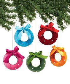 Velvet Reindeer Wreath Ornament Set$24.99