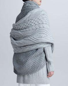 Loro Piana Gile Cable-Knit Cape Shrug, Turtleneck Tunic Sweater, Cable-Knit Scarf & Devon Riding Pants - Neiman Marcus