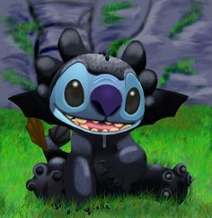 stitch as toothless finished by stitch-blue.deviantart.com on @deviantART