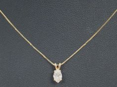 "14K YELLOW GOLD 18"" CHAIN NECKLACE .40 CARAT MARQUISE DIAMOND SOLITAIRE PENDANT #Chain"
