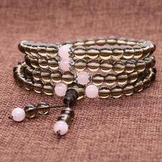 AmorWing 108 Mala Beads Smoky Quartz Reiki Healing Prayer Bracelet/Necklace for Yoga, Meditation with Rose Quartz: Amazon.ca: Jewelry