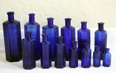 I love cobalt blue glass. particularly the vintage bottles! Antique Glass Bottles, Blue Glass Bottles, Blue Bottle, Vintage Bottles, Bottles And Jars, Glass Jars, Perfume Bottles, Bleu Cobalt, Colored Glass