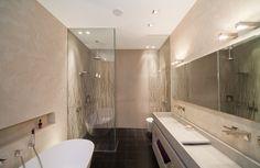 badezimmer bilder glasdusche beige wandfarbe wandleuchten