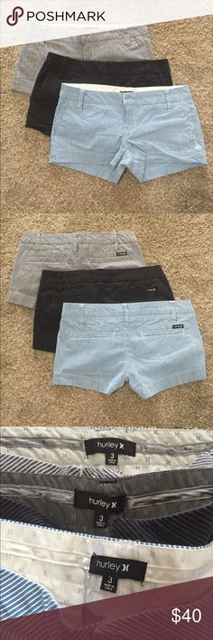 Hurley shorts Size 3 Hurley shorts. Brand new condition, worn a few times. Smoke free home. Would like to sell as a set, but willing to break up. Hurley Shorts