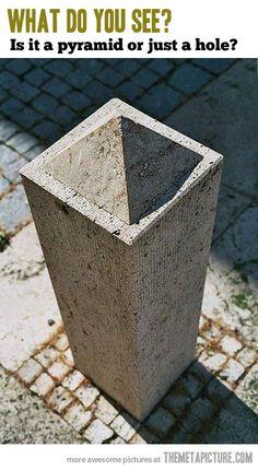 Pyramid or Hole?