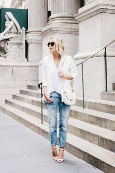 Derek Lam Blazer with Organdy Back {$238} // Forever 21 Boyfriend Jeans{$28} // Manolo Blahnik Chaos Cuff Sandal {$725} // Celine Small Trotteur Bag {available in stores} Photos by Alexandra Gibbs...
