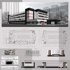 Auditorium Architecture, Social Housing Architecture, Office Building Architecture, Architecture Collage, Concept Architecture, Architecture Design, School Building Design, Mix Use Building, Building Concept
