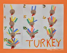 Turkey Crafts for Preschoolers: Feather Counting Activity & Handprint Art