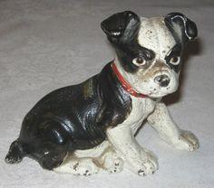 """Best Antique Cast Iron Hubley Boston Terrier Puppy Dog Doorstop Garden Statue | eBay"