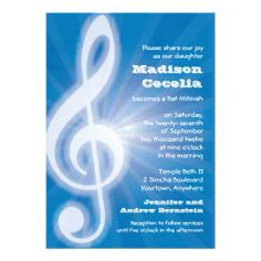 Glowing Music Clef Bar-Bat Mitzvah Personalized Announcements