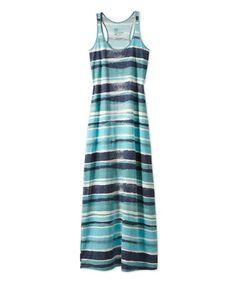 Look at this #zulilyfind! Turquoise Stripe Racerback Maxi Dress #zulilyfinds