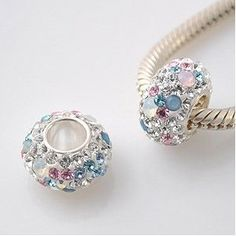 Opal with Pink, White & Blue Swarovski Crystal Charm - Genuine 925 Sterling Silver Core 4.5mm Hole - fists most European bracelets including Pandora, Lovelinks Petite, Biagi & Chamilia