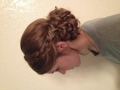 Whimsical updo braids curly - poof off to the side instead
