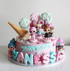 Suggestions to be Inspired for 1 Age Girl's Cake Selection! Doll Birthday Cake, Funny Birthday Cakes, Homemade Birthday Cakes, Buttercream Cake, Fondant Cakes, Cupcake Cakes, Lol Doll Cake, Surprise Cake, Girl Cakes