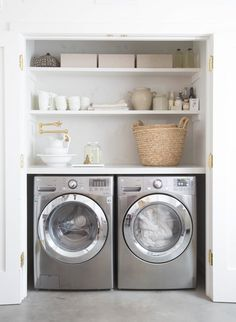 Home Decor: Laundry Room Decorating Ideas To Help Organize Space. Home Decor: Laundry Room Decorating Ideas To Help Organize Space. The post Home Decor: Laundry Room Decorating Ideas To Help Organize Space. appeared first on House. Laundry Nook, Farmhouse Laundry Room, Small Laundry Rooms, Laundry Room Organization, Laundry Room Design, Laundry In Closet, Laundry Decor, Utility Closet, Basement Laundry