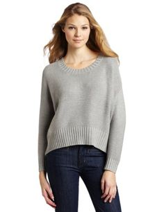 Bcbgeneration Women's Marled Slouchy Cable Round Neck Sweater, Heather Grey, Medium