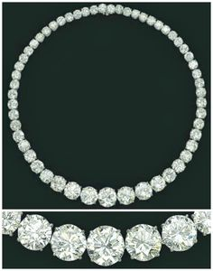 diamond rivere necklaceset with fifty-five graduated brilliant-cut diamonds, weighing approximately 117.31 carats in total, and mounted in platinum