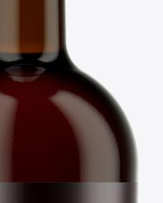 Dark Amber Glass Bordeaux Bottle Mockup. Preview (Close-Up)