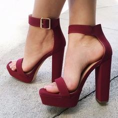 shoes chunky sole chunky heel single strap spring summer heels high heels high heel gojane burgundy