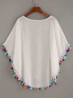 SheIn offers White Tassel Trimmed Chiffon Kimono & more to fit your fashionable needs. Latest African Fashion Dresses, African Dresses For Women, Girls Fashion Clothes, Teen Fashion Outfits, Chiffon Kimono, Chiffon Tops, Top Chic, Sewing Clothes, Diy Clothes