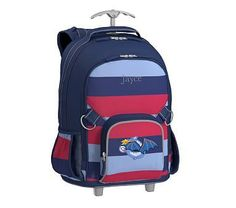 Rolling Backpack, Fairfax Green/Navy Multicolor Stripe Glow T-Rex Jansport Backpack, Laptop Backpack, Striped Backpack, Rolling Backpack, Waterproof Backpack, Baby Furniture, Baby Registry, Pottery Barn Kids, T Rex