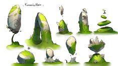 "Some assets we created for the ""Flower Plain"". Fantasy Landscape, Landscape Art, Fantasy Art, Concept Art Tutorial, Game Concept Art, Prop Design, Game Design, 2d Game Art, Environment Concept"