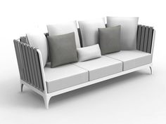 Upholstered sofa with removable cover Stripe Collection by Talenti