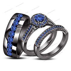 2.00 CT Round Cut Blue Sapphire 14K Black Gold Gp 925 Trio Engagement Ring Set $ #SolitaireWAccentsWeddingAnniversaryRing