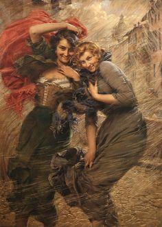 COLPO DI VENTO - Gaetano Bellei (italian,1857-1922)
