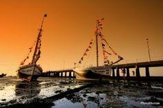 Os barcos dançam na festa.
