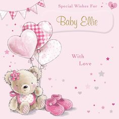 Personalized Greeting Cards, Personalized Baby, New Baby Greetings, Wishes For Baby, New Baby Products, Teddy Bear, Create, Unique, Teddy Bears