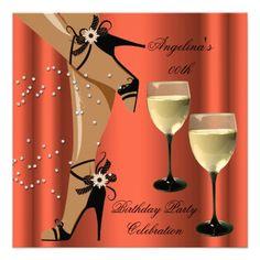 Rusty Orange Black Shoes Wine Glass Birthday Party Personalized Invitation