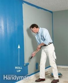 """Unload the roller moving it up the wall. Move over 3"""" then roll down over wet paint. Right handed: paint left to right on wall."""