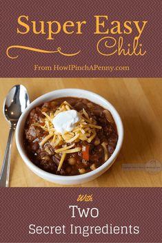 Super Easy Chili Recipe Slow Cooker Times, Slow Cooker Soup, Slow Cooker Recipes, Crockpot Recipes, Cooking Recipes, Chili Recipes, Soup Recipes, Family Recipes, Copycat Recipes