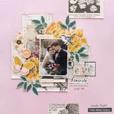 Flora used papers and embellishments from Crate Paper that have a soft romantic vintage feel for this lovely wedding layout. The muted background colors help the more colorful photo really stand out. Scrapbook Page Layouts, Scrapbook Pages, Scrapbooking Ideas, Digital Scrapbooking, Heritage Scrapbooking, Frame My Photo, Flora, Paper Pocket, Crate Paper