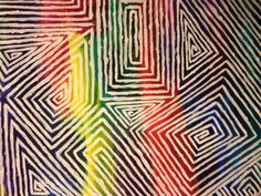 Colorful maze abstract painting by CrasianDesigns on Etsy