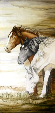 """stormy day"" wild horses waiting smelling a storm roll in. 24""x48"" oil on board. sold, prints available."
