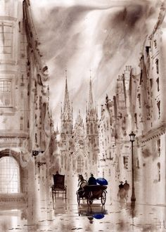 Victorian London; this is a painting of Victorian London.