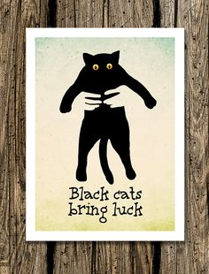 Black cats bring luck   75 x 11 Art Print. Funny by LemonPaper, $15.00