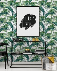 Tropic Palm feuille papier peint / amovible par ThinkNoirWallpaper