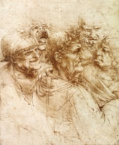 Five Grotesque Heads - Leonardo da Vinci, c. 1490
