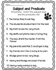 Subject and Predicate Worksheet More
