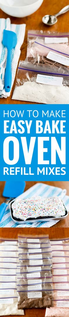 How To Make Easy Bake Oven Mixes -- learn how to make your own Easy Bake Oven refills from boxed cake mixes, yields 33 refills for under $4!!! If you have kids that love to bake with their Easy Bake Oven, you NEED to read this now... | easy bake oven mixes diy | easy bake oven mixes recipes | easy bake oven mixes homemade | easy bake oven homemade mixes | easy bake oven recipes | easy bake oven recipes diy #kids #kidscrafts #easybake #easybakeoven #unsophisticook